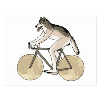 Werewolf Riding Bike With Full Moon Wheels Postcard