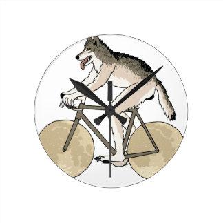 Werewolf Riding Bike With Full Moon Wheels Round Clock