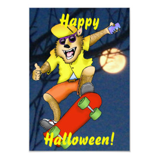 Werewolf Skateboarder Halloween Party Invitation