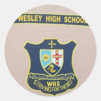 wesley high school sticker. round sticker