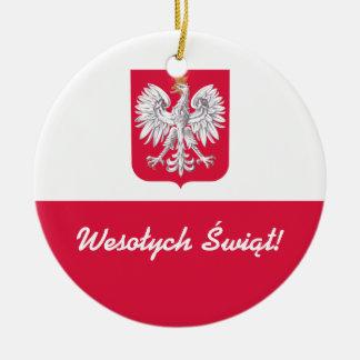 Wesołych Świąt Merry Christmas in Polish Ceramic Ornament