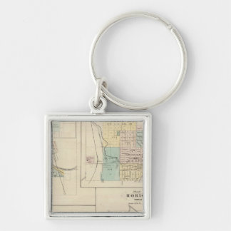 West Bend, Port Washington, Hartford and Horicon Silver-Colored Square Key Ring