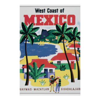 West Coast of Mexico Vintage Travel Poster Artwork
