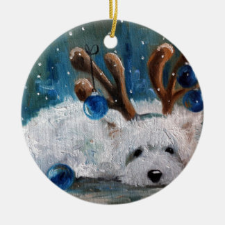 West Highland Terrier Blue Christmas Westie Dog Ceramic Ornament