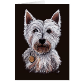 West Highland Terrier Dog Pastel Illustration Card