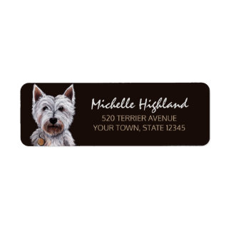 West Highland Terrier Dog Pastel Illustration Return Address Label