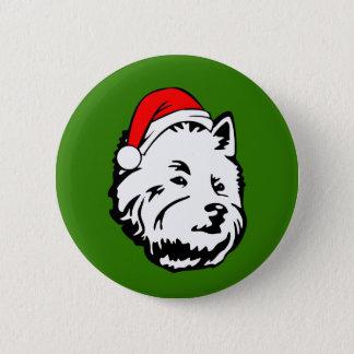 West Highland Terrier Dog with Christmas Santa 6 Cm Round Badge