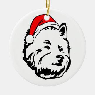 West_Highland_Terrier_Dog with Christmas Santa Hat Round Ceramic Decoration