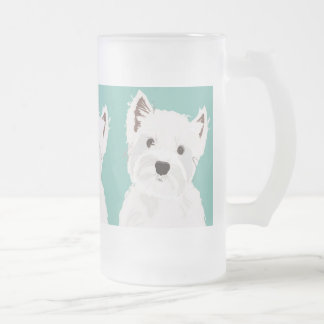 West Highland Terrier Frosted Glass Beer Mug