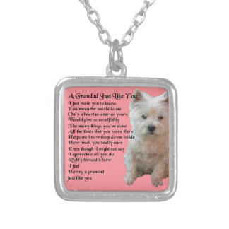 west Highland Terrier  Grandad Poem Silver Plated Necklace