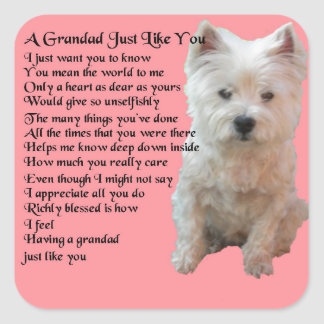 west Highland Terrier  Grandad Poem Square Sticker