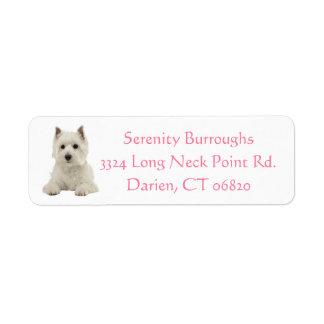 West Highland Terrier Puppy Dog Pink Return Address Label