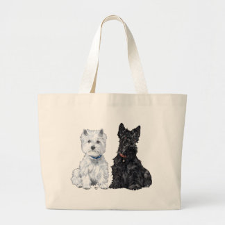 West Highland White & Scottish Terriers Jumbo Tote Bag