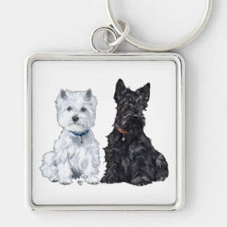 West Highland White & Scottish Terriers Silver-Colored Square Key Ring