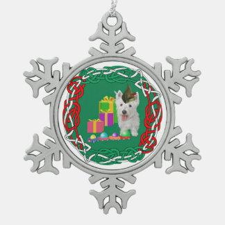 West Highland White Terrier Christmas Elf Snowflake Pewter Christmas Ornament