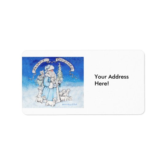West Highland White Terrier Christmas Label