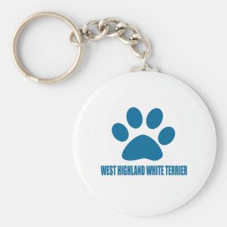 WEST HIGHLAND WHITE TERRIER DOG DESIGNS KEY RING