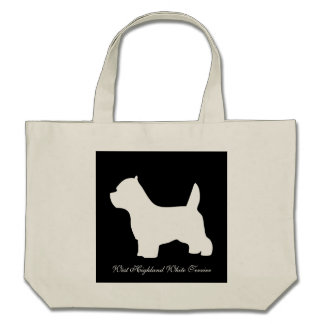 West Highland White Terrier dog, westie silhouette Bags