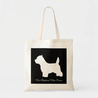 West Highland White Terrier dog, westie silhouette Budget Tote Bag