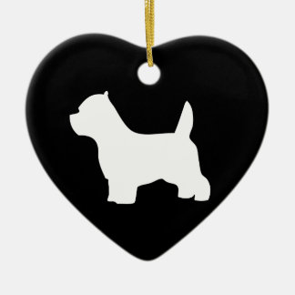 West Highland White Terrier dog, westie silhouette Ceramic Ornament