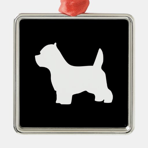 West Highland White Terrier dog, westie silhouette Christmas Ornament