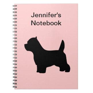 West Highland White Terrier dog westie, silhouette Notebook