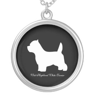 West Highland White Terrier dog, westie silhouette Silver Plated Necklace