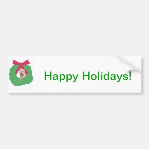 West Highland White Terrier Holiday Wreath Bumper Sticker
