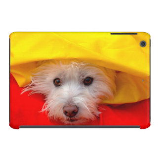 West Highland White Terrier peeking out of yellow iPad Mini Retina Cover