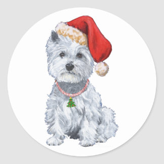 West Highland White Terrier Santa Claus Classic Round Sticker