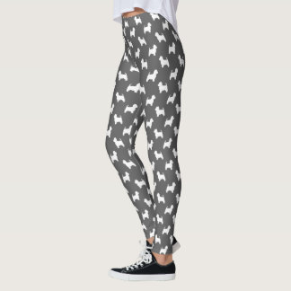 West Highland White Terrier Silhouettes Pattern Leggings