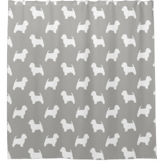 West Highland White Terrier Silhouettes Pattern Shower Curtain