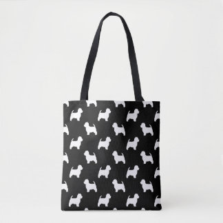West Highland White Terrier Silhouettes Pattern Tote Bag