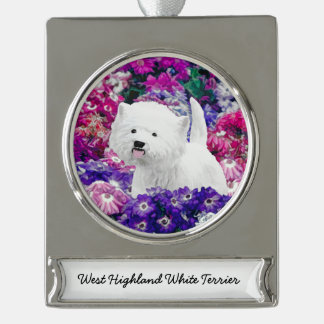West Highland White Terrier Silver Plated Banner Ornament