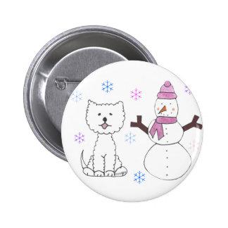 West Highland White Terrier & Snowman 6 Cm Round Badge