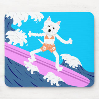 West Highland White Terrier Surfer Girl Mouse Pad