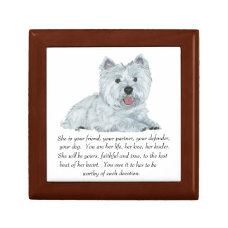 West Highland White Terrier Tile Box Small Square Gift Box