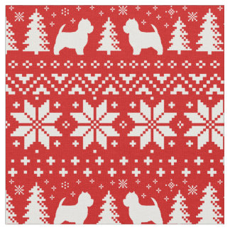 West Highland White Terriers Christmas Pattern Red Fabric