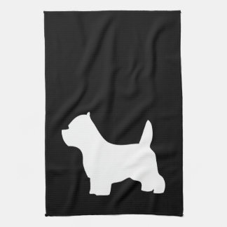 West Highland White Terriers, westie silhouette Tea Towel