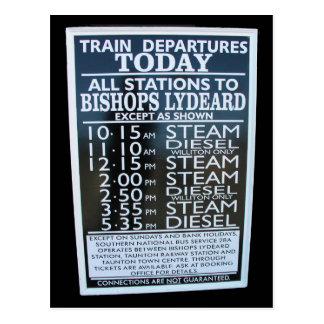 West Somerset Railway, Minehead station timetable Postcard