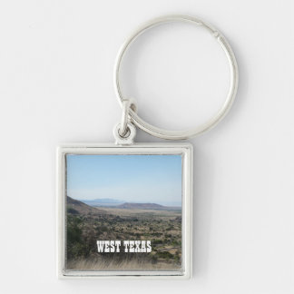 West Texas Landscape Silver-Colored Square Key Ring