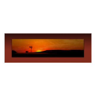 West Texas Windmill Sunset Poster