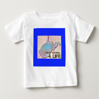 """""""West Virginia 4 Life"""" State Map Pride Design Baby T-Shirt"""
