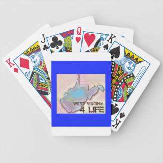 """""""West Virginia 4 Life"""" State Map Pride Design Bicycle Playing Cards"""