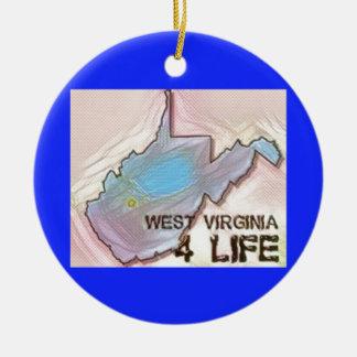 """""""West Virginia 4 Life"""" State Map Pride Design Ceramic Ornament"""