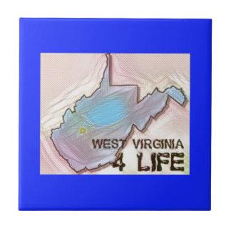 """""""West Virginia 4 Life"""" State Map Pride Design Ceramic Tile"""