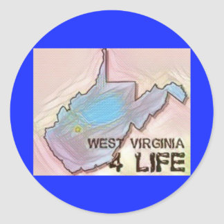 """West Virginia 4 Life"" State Map Pride Design Classic Round Sticker"
