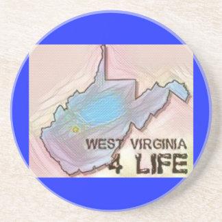 """West Virginia 4 Life"" State Map Pride Design Coaster"