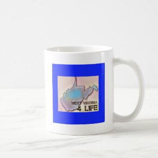 """West Virginia 4 Life"" State Map Pride Design Coffee Mug"