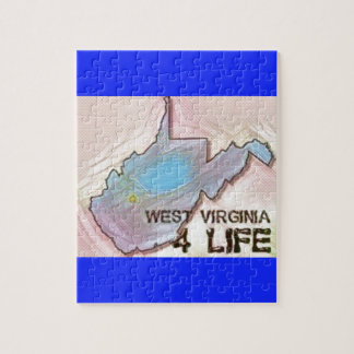 """West Virginia 4 Life"" State Map Pride Design Jigsaw Puzzle"